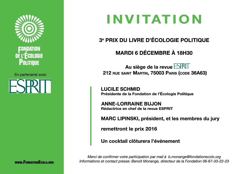3e edition du prix du livre d 39 ecologie politique. Black Bedroom Furniture Sets. Home Design Ideas